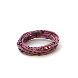 Bracelet 123a 65 Core leather 8 bracelet stack scales snake purple