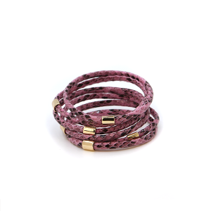Bracelet 098a 65 Core leather 5 bracelet stack scales snake purple
