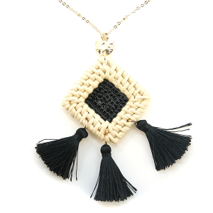 Necklace 1264c 66 M Woven seed bead center tri tassel necklace black