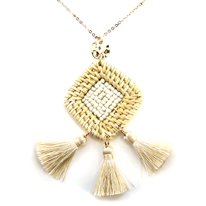Necklace 1326c 66 M Woven seed bead center tri tassel necklace ivory