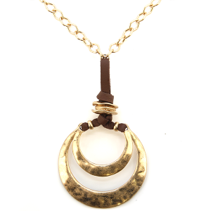 Necklace 1238v 66 M Contemporary double arc hoop string necklace gold