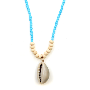 Necklace 225r 66 M Seashell bead short necklace blue