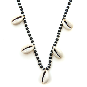 Necklace 088n 66 M Seashell charm bead necklace black white