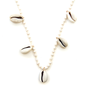 Necklace 120o 66 M Seashell charm bead necklace ivory