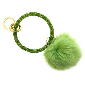 Keychain 215c 67 rhinestone hoop pom green