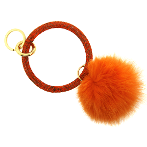 Keychain 220 67 rhinestone hoop pom orange