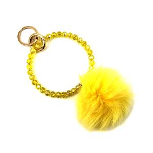 Keychain 049c 67 Pom Pom Fur beaded wristlet yellow