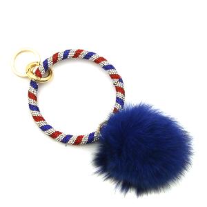 Keychain 051e 67 patriotic fuzzy pom hoop blue