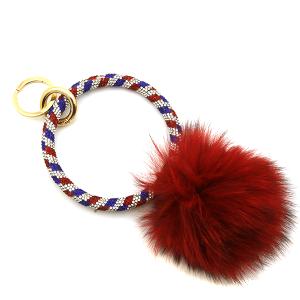 Keychain 083h 67 patriotic fuzzy pom hoop red