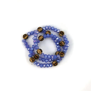 Bracelet 016c 67 Bach 3 bracelet stack leopard accent blue