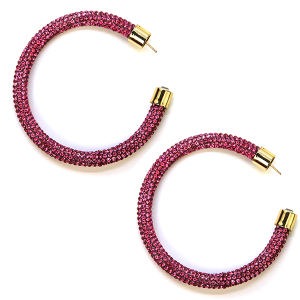 Earring 326b 69 Bach rhinestone earrings hoop pink