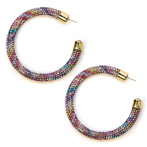 Earring 335a 69 Bach rhinestone earrings hoop multicolor
