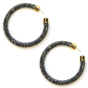 Earring 322c 69 Bach rhinestone earrings hoop hematite