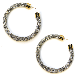 Earring 346b 69 Bach rhinestone earrings hoop silver