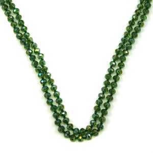 Necklace 541b 30 60 inch bead necklace 06ab green