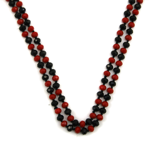 Necklace 1718 67 FJ 30 60 inch bead necklace black red dmt