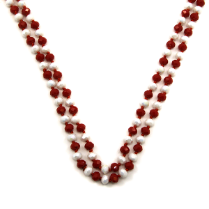 Necklace 861 30 60 inch bead necklace red white