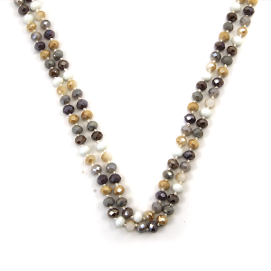Necklace 010d 30 60 inch bead necklace gray beige mt8