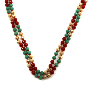 Christmas Necklace 104c 30 60 inch bead necklace xmas red green white