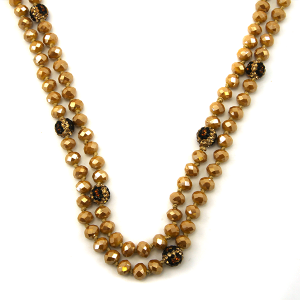 Necklace 962c 67 30 60 inch bead necklace leopard bead accents 07
