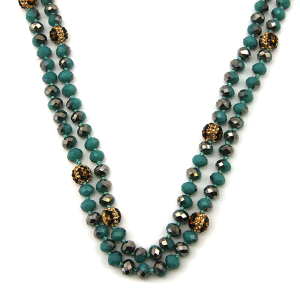 Necklace 1150c 67 30 60 inch bead necklace leopard bead accents 08