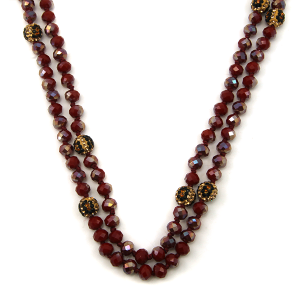Necklace 918c 67 30 60 inch bead necklace leopard bead accents 09