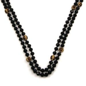 Necklace 834a 30 60 inch bead necklace black leopard