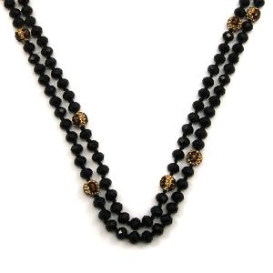 Necklace 941L 67 30 60 inch bead necklace black leopard