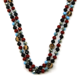 Necklace 1033b 67 30 60 inch bead necklace leopard bead accents 24