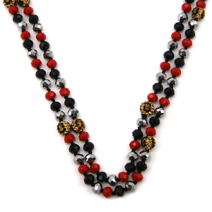 Necklace 848g 67 30 60 inch bead necklace leopard bead accents 32