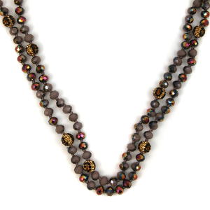 Necklace 086b 67 Bach 30 60 inch bead necklace leopard accent 335