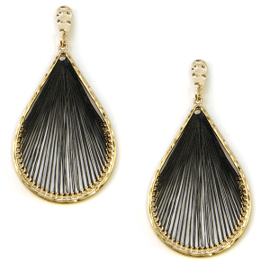 Earring 2165c 69 contemporary tear drop wire earrings black