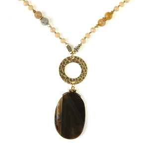 Necklace 736b 69 contemporary bead resin gem necklace brown
