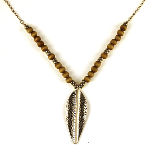 Necklace 617 69 contemporary bead leaf pendant necklace brown