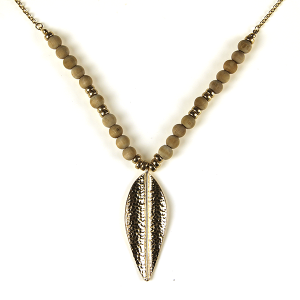 Necklace 604 69 contemporary bead leaf pendant necklace tan