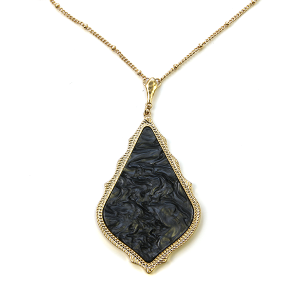 Necklace 1019 69 Contemporary Tear Drop resin necklace black