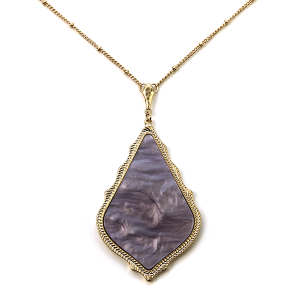 Necklace 1018 69 Contemporary Tear Drop resin necklace lavender