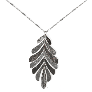 Necklace 439f 71 contemporary leaf dangle necklace silver