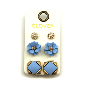 Earring 447f 04 Clover 3 set stud earring set floral blue