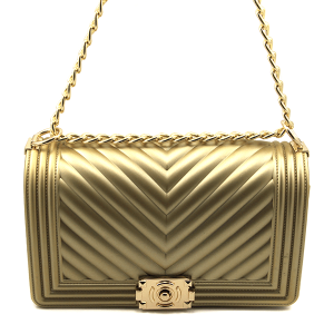 Caleesa 7044 quilted chevron jelly crossbody gold