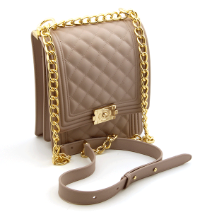 Caleesa 7056 quilted jelly crossbody rose gold