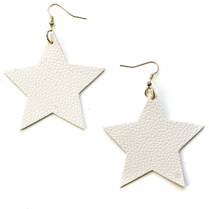 Earring 2625c 70 H Star Earrings Leather White USA