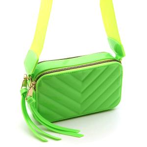 Caleesa 7142 quilted chevron double zipper crossbody green