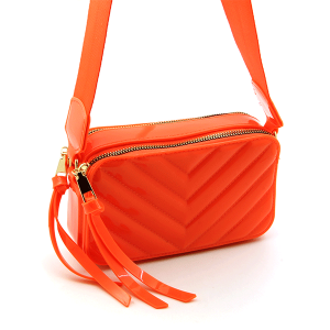Caleesa 7142 quilted chevron double zipper crossbody orange