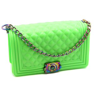 Caleesa 7145 quilted jelly crossbody neon green