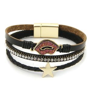 Bracelet 071b 71 Viola glitter lips rhinestone bracelet black