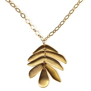 Necklace 364e 71 Viola cotemporary leaf dangle necklace gold