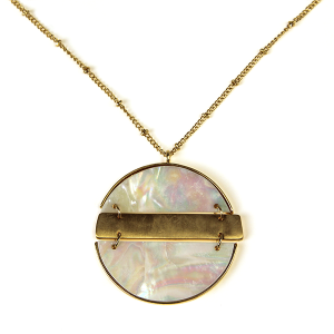 Necklace 412b 71 Viola contemporary abalone necklace gold