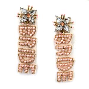 Earring 4684 71 Viola seed bead stud dangle BRIDE earrings pink