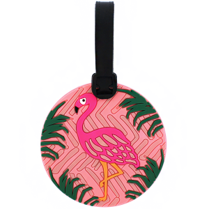luggage tag 021 71 Bon Voyage flamingo light pink